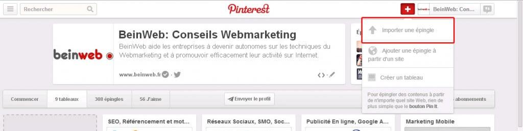 Pinterest: Importez vos propres images