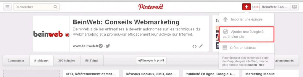 Pinterest: ajoutez une épingle à partir d'un site