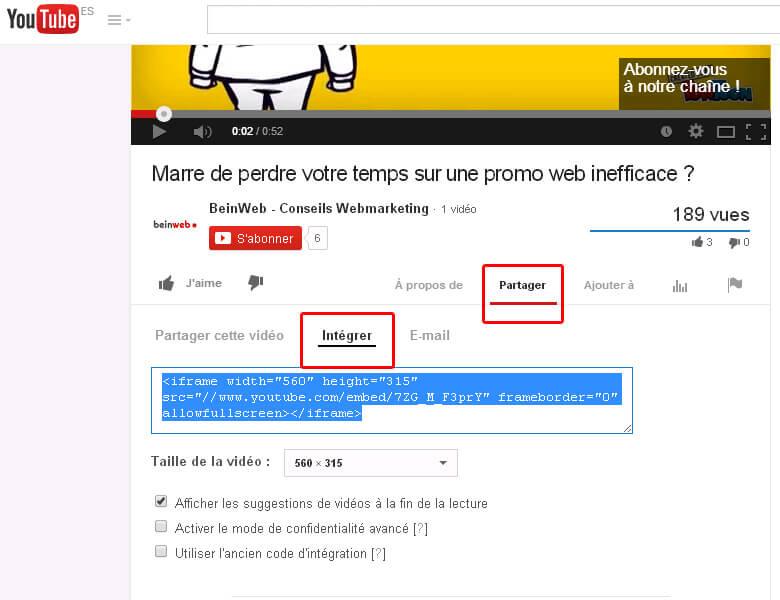 comment modifier le code d'une vidéo youtube
