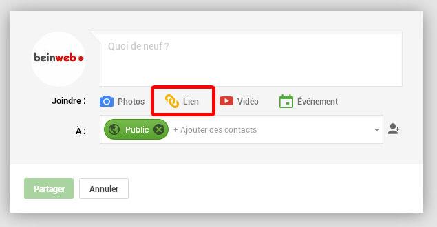 Partager un lien Google Plus