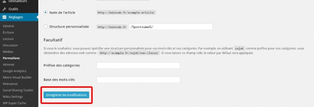 modifier ses permaliens wordpress