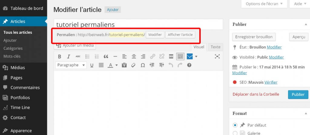adresse de vos articles wordpress