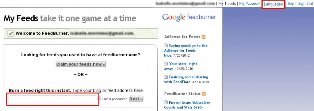 Comment créer un compte Feedburner