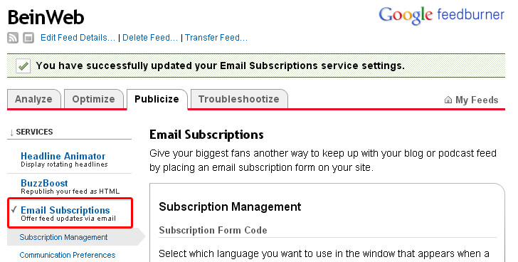 Module d'inscription par email au flux RSS