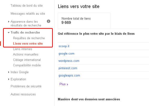 Liens a votre site de Google Webmaster Tools.