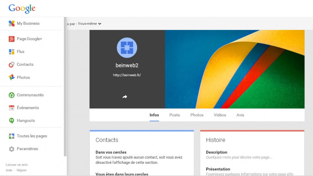 Les sections de votre page Google Plus