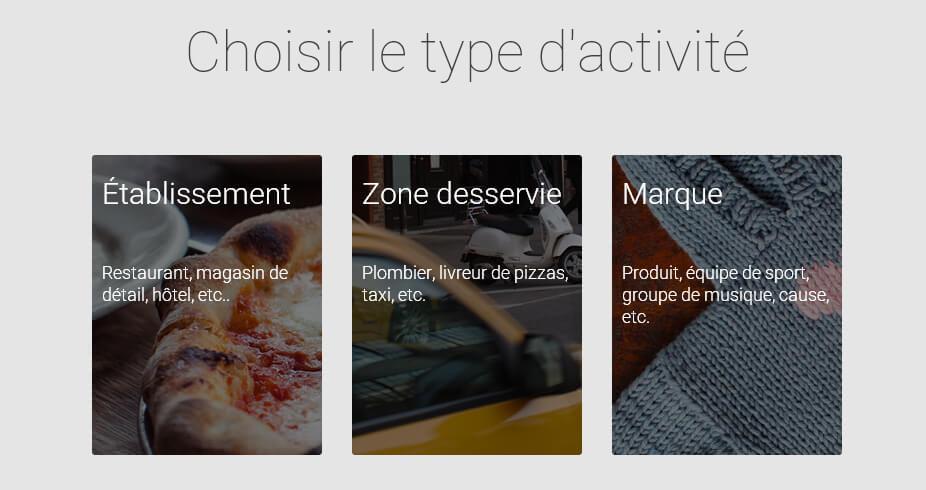 Choisir le type d'activité pour votre page Google Plus