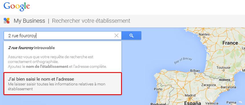 Créez votre adresse dans Google Map