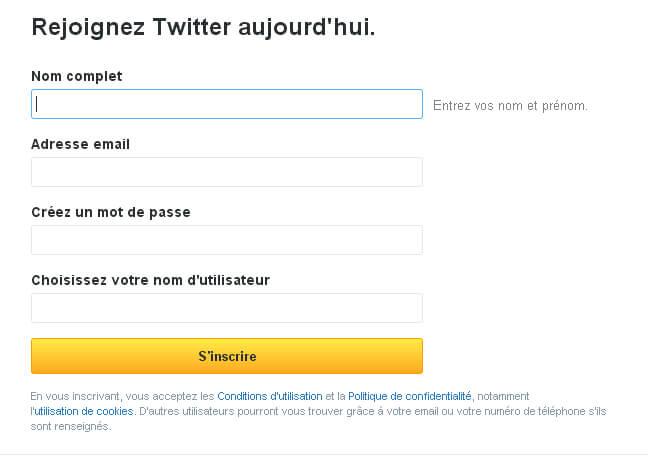 Formulaire d'inscription de Twitter