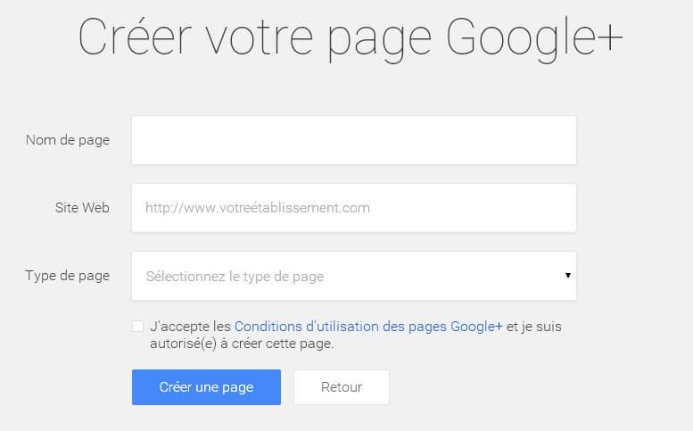 Informations sur Page Google Plus