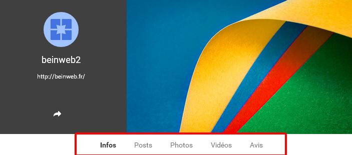 Le menu de votre page Google Plus
