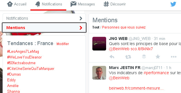 Onglet Mentions sur Twitter