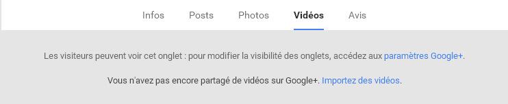Onglet Vidéos sur votre page Google Plus