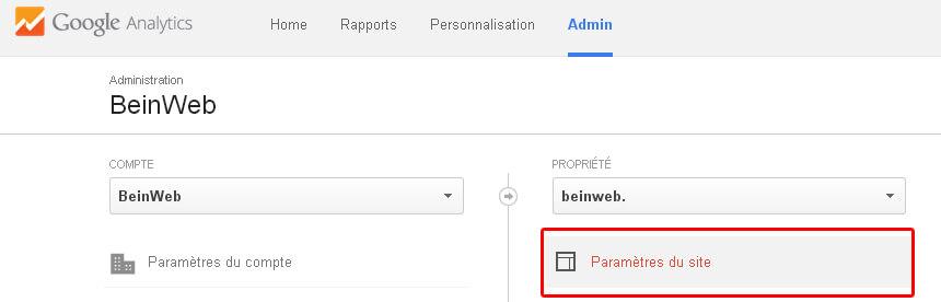 Paramètres du site Google Analytics
