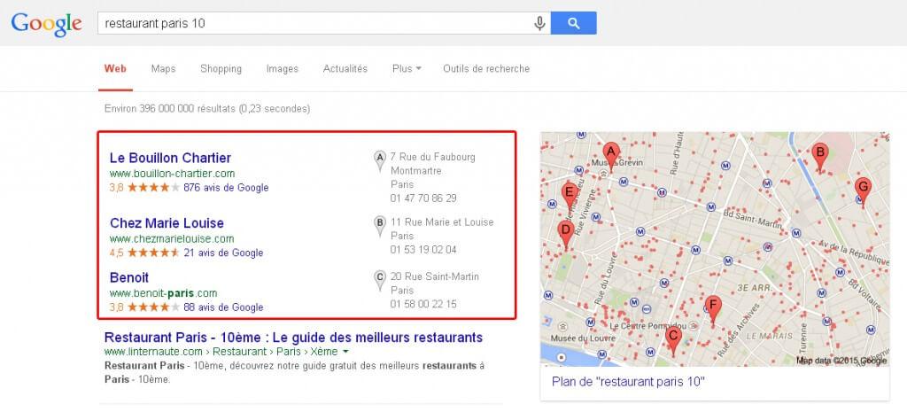Résultats Google MyBusiness dans Google