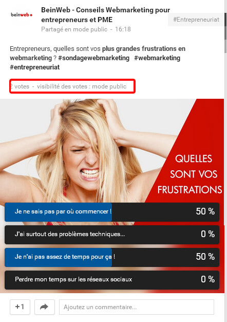 Exemple de sondage Google Plus