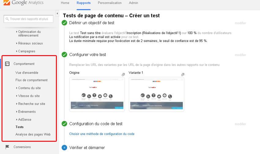 Comment configurer un test A/B sur Google Analytics