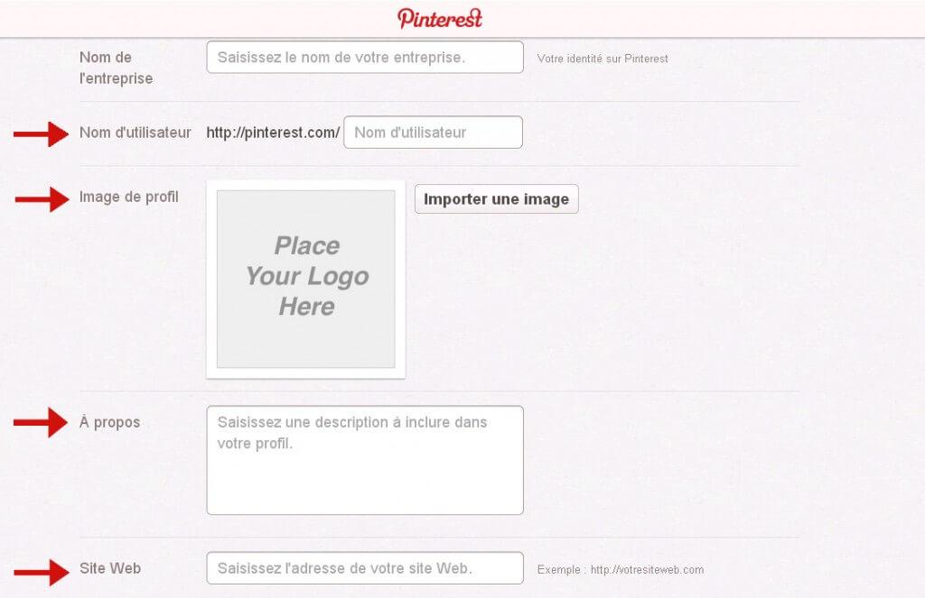 Configurez votre profil Pinterest