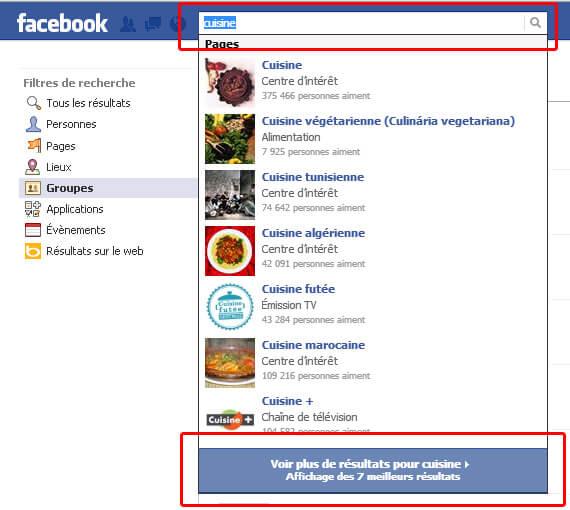 Utilisez le moteur de recherche Facebook pour trouver des groupes !