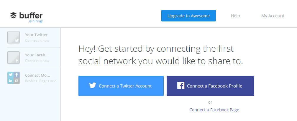 Connectez vos réseaux sociaux à votre compte Buffer