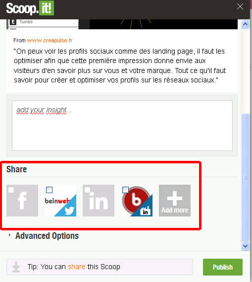 Scoopez un article depuis votre extension Scoop.it