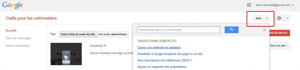 Rubrique Aide de Google Webmaster Tools
