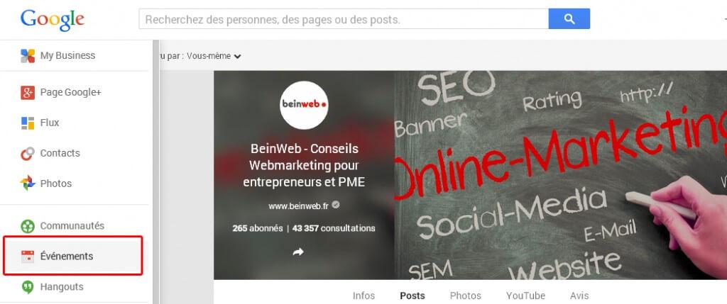 Créer un évènement sur profil Google Plus