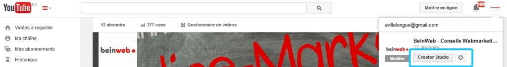 «creator studio» sur Chaine YouTube