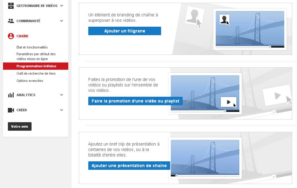 Programmation InVideo sur chaine YouTube