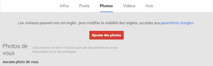 Onglet Photos de votre page Google Plus