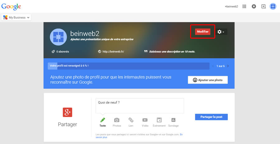 Bienvenue sur votre nouvelle page Google Plus !