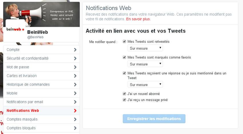 Modifiez vos notifications web sur Twitter