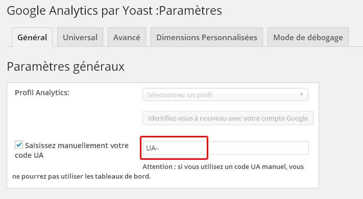 Paramètres Google Analytics par Yoast