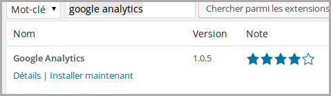 Plugin Google Analytics pour WordPress