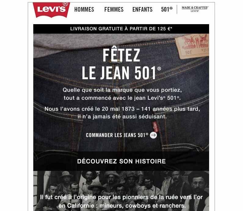 exemple de storytelling newsletter Levi's