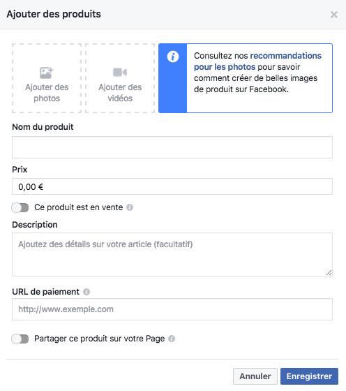 remplir fiche produit Facebook