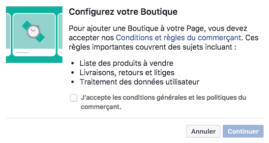 configurer boutique Facebook