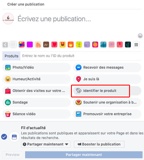 identifier produit sur publication Facebook