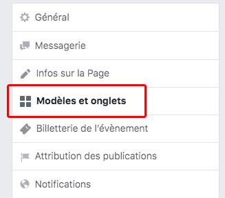 modèles et onglets sur Facebook